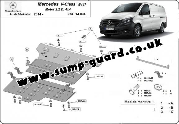 Steel sump guard for Mercedes V-Class W447, 2.2 D, 4x4
