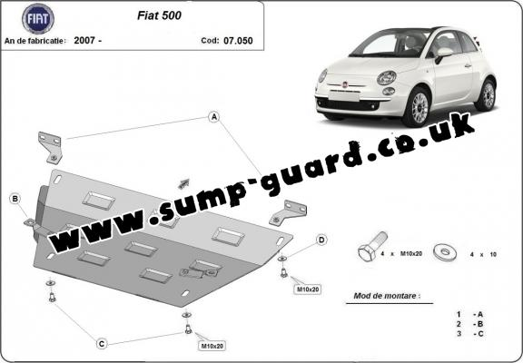 Steel sump guard for Fiat 500