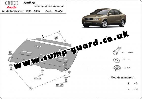 Steel manual gearbox guard  Audi A4  B6