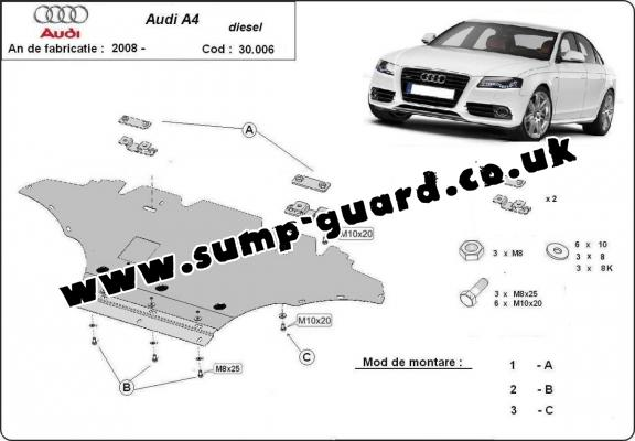 Steel sump guard for Audi A4 B8, diesel