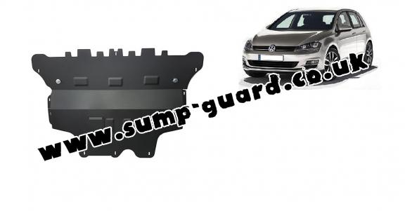Steel sump guard for the protection of the engine and the gearbox for VW Golf 7 - manual gearbox