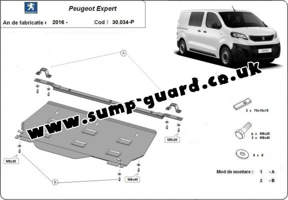 Steel sump guard for Peugeot Expert MPV