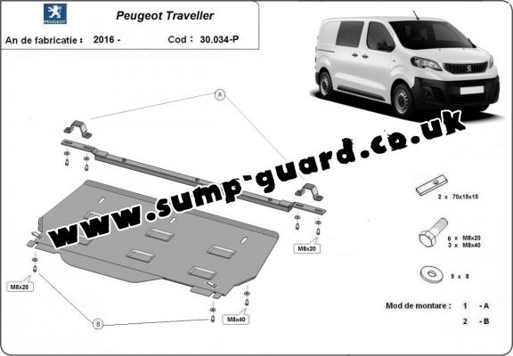 Steel sump guard for Peugeot Traveller