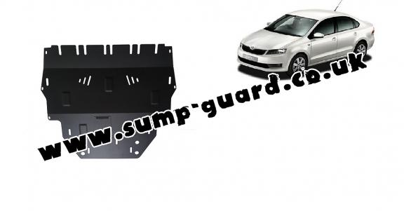 Steel sump guard for Skoda Rapid