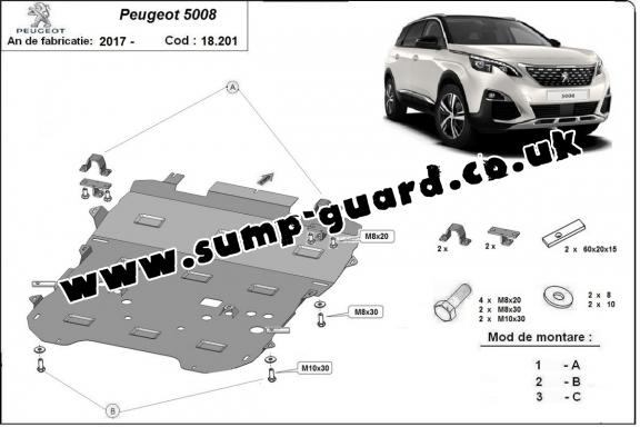 Steel sump guard for the protection of the engine and the gearbox for Peugeot 5008