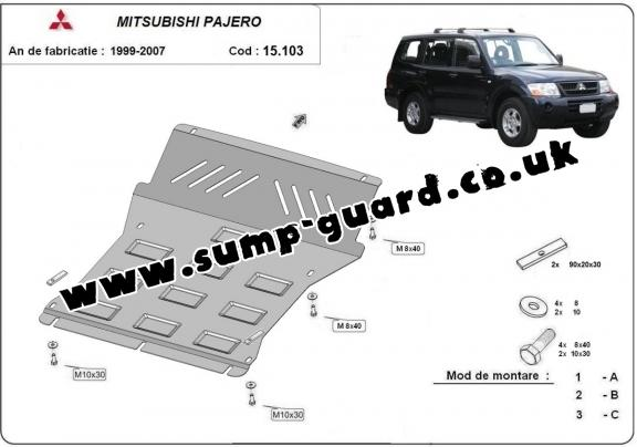 Steel sump guard for the protection of the engine and the radiator for Mitsubishi Shogun 3 (V60, V70) Vers. 2.0