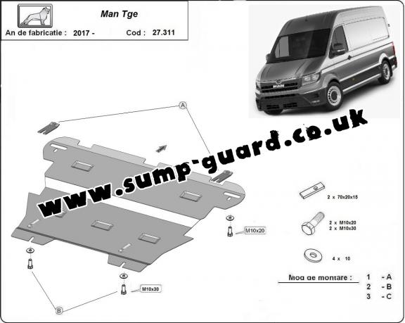 Steel sump guard for Man Tge