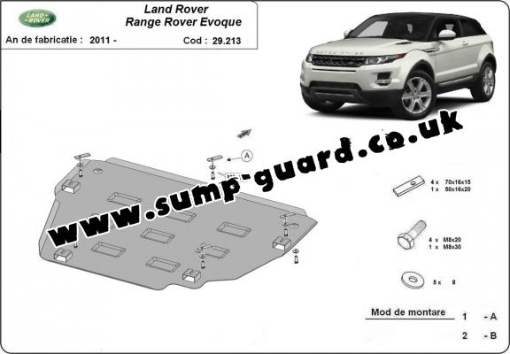 Steel sump guard for Range Rover Evoque