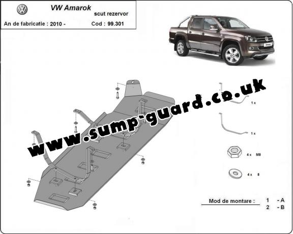 Steel fuel tank guard  for Volkswagen Amarok - Only for versions without factory protections