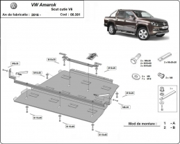 Steel gearbox and differential guard for Volkswagen Amarok -  V6 automat