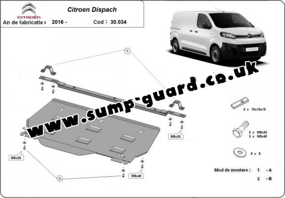 Steel sump guard for Citroen Dispatch MPV