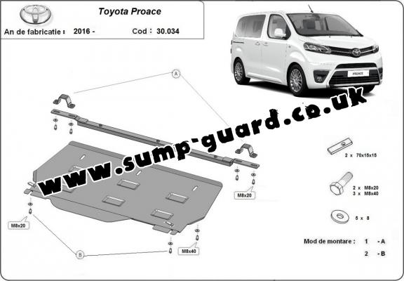 Steel sump guard for  Toyota Proace MPV