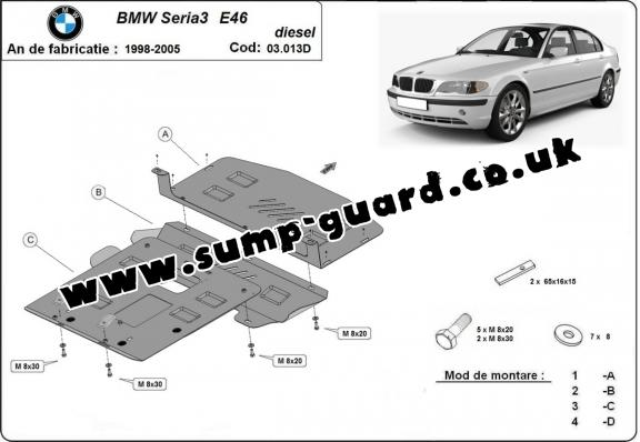 Steel sump guard for BMW Seria 3 E46 - Diesel