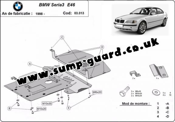 Steel sump guard for BMW Seria 3 E46 - petrol