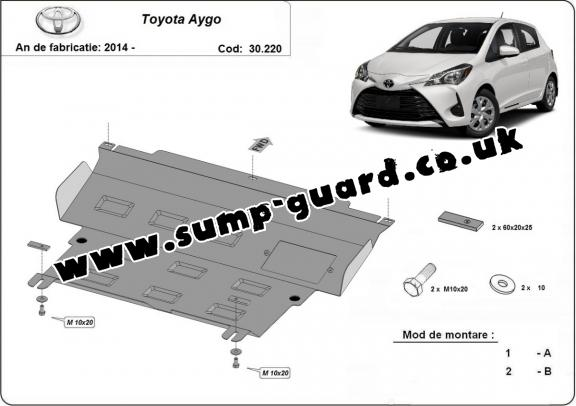 Steel sump guard for Toyota Aygo AB40