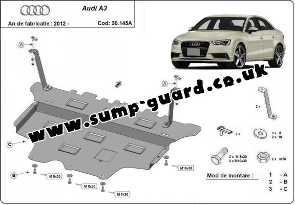 Steel sump guard for Audi A3 (8V) -automatic gearbox