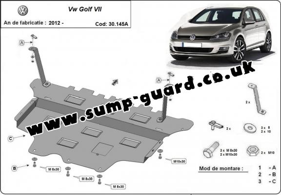 Steel sump guard for the protection of the engine and the gearbox for VW Golf 7 - automatic gearbox