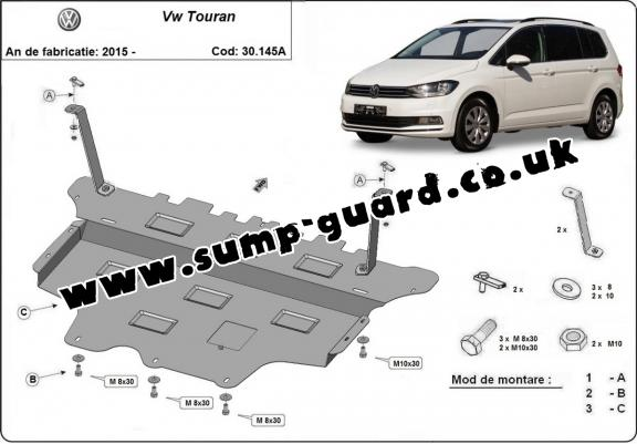 Steel sump guard for VW Touran - automatic gearbox