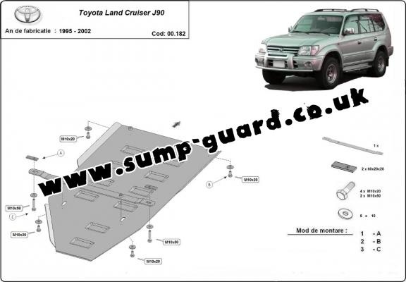 Steel gearbox guard for Toyota Land Cruiser J90