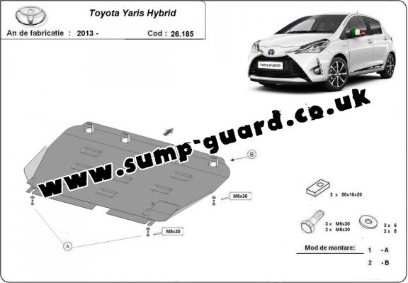 Steel sump guard for Toyota Yaris Hybrid