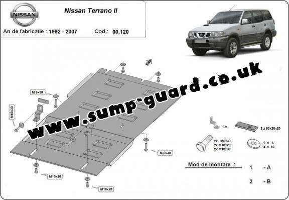 Steel gearbox guard for Nissan Terrano II