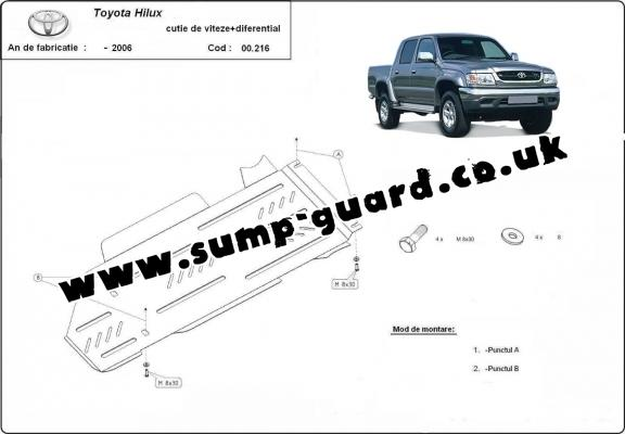 Steel gearbox and differential guard for Toyota Hilux