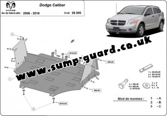 Steel sump guard for Dodge Caliber