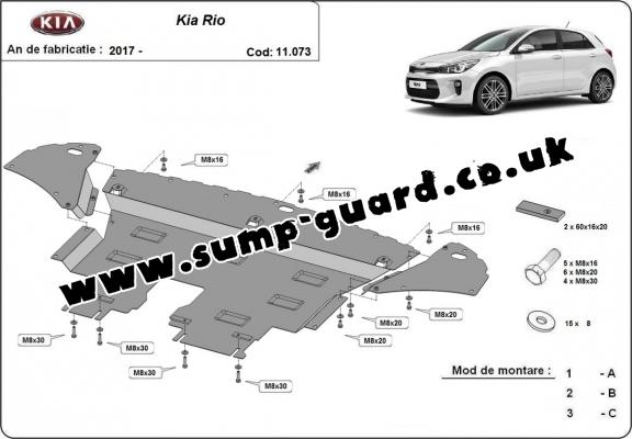 Steel sump guard for Kia Rio 4