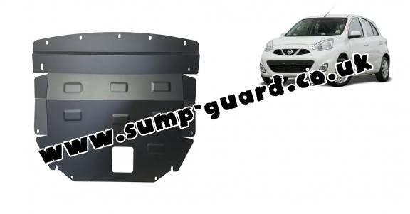 Steel sump guard for Nissan Micra
