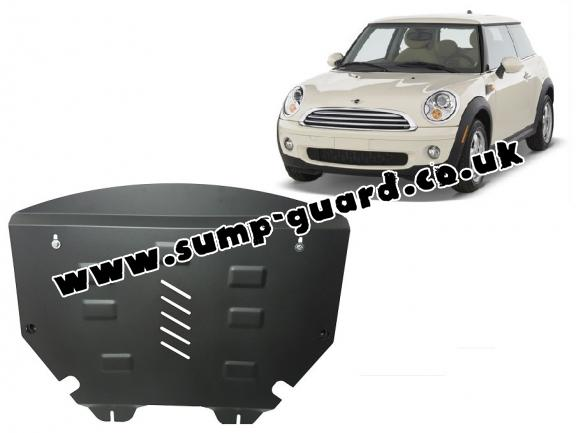 Steel sump guard for the protection of the engine and the gearbox for Mini Cooper R56