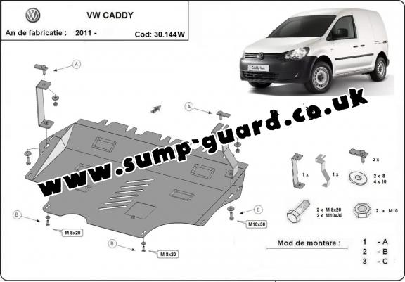 Steel sump guard for VW Caddy - with WEBASTO