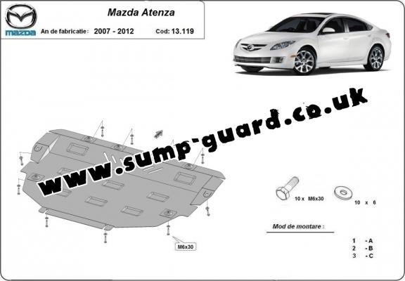 Steel sump guard for Mazda Atenza