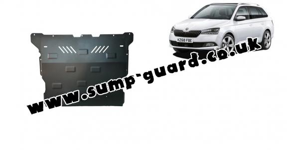 Steel sump guard for Skoda Fabia