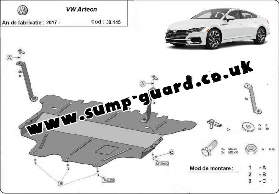 Steel sump guard for VW Arteon - manual gearbox