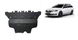 Steel sump guard for the protection of the engine and the gearbox for Skoda Octavia 3 - automatic gearbox
