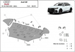 Steel sump guard for Audi Q8