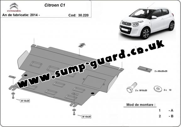 Steel sump guard for Citroen C1