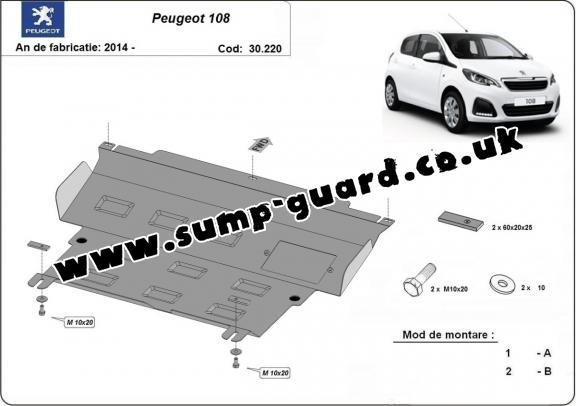 Steel sump guard for Peugeot 108