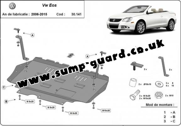 Steel sump guard for VW Eos