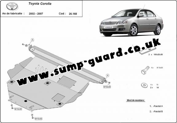 Steel sump guard for Toyota Corolla -E120/E130