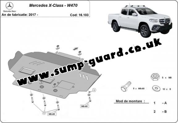 Steel sump guard for Mercedes X-Class