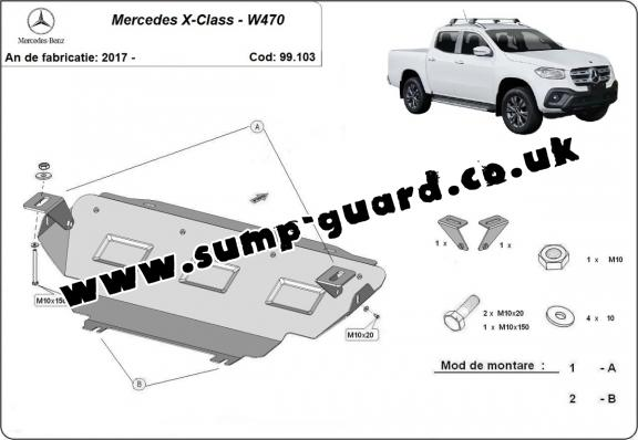 Steel radiator guard for Mercedes X-Class