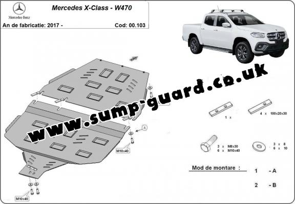 Steel gearbox guard and transfer case guard for Mercedes X-Class