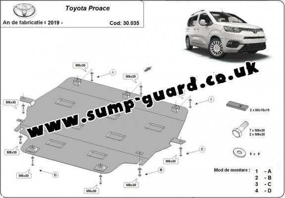 Steel sump guard for Toyota Proace