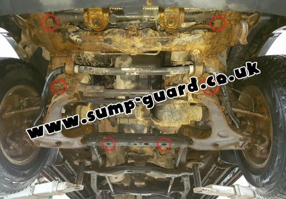Steel sump guard for the protection of the engine and the radiator for Mitsubishi Shogun Sport 1